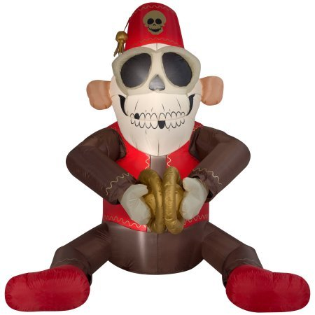 6 Foot Tall Animated Inflatable Airblown-Cymbal Monkey Outdoor Halloween Decoration