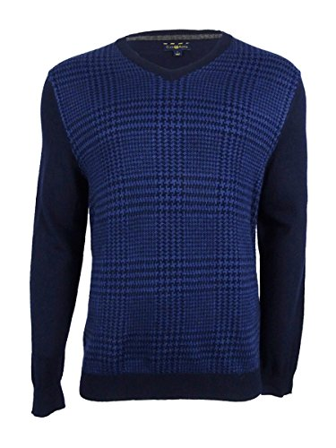 Club Room Mens Wool Houndstooth Pullover Sweater Navy XXL from Club Room