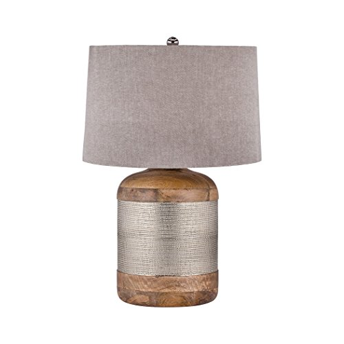 Elk Lighting 8983-021 German Silver Drum Table Lamp Mango Wood ()