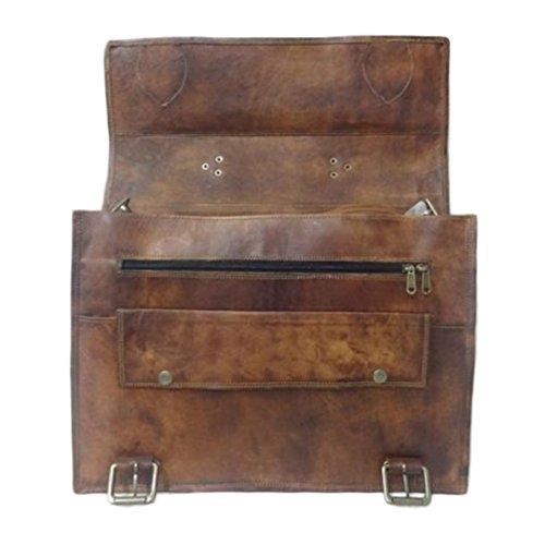 Mad Over Shopping, Weinlese handgefertigte Tasche echtes Leder Laptop Büro Schulter Aktenkoffer Beutel
