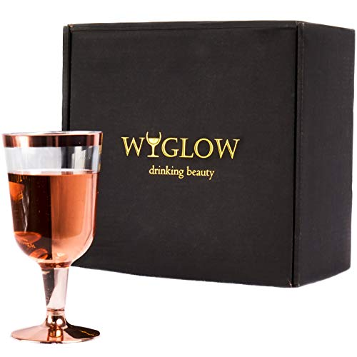 Rose Gold Plastic Cups by WyGlow - 25 Pack Exquisite 7oz Disposable Unbreakable Stemware Large Wine Glasses for Exclusive Events and Party ()