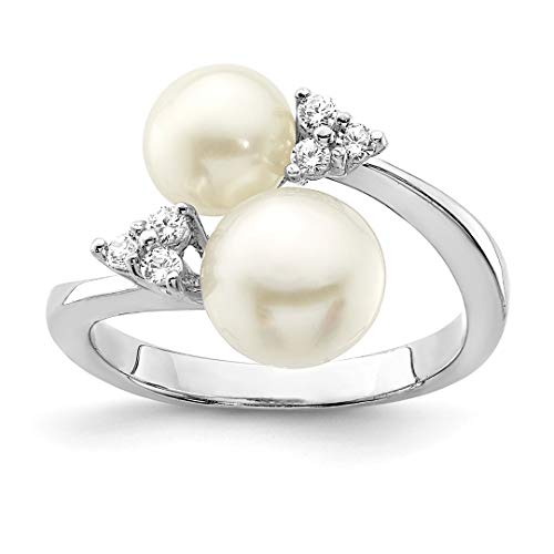 Pearl Akoya Brooch (925 Sterling Silver 9mm White 2 Freshwater Cultured Pearl Cubic Zirconia Cz Band Ring Size 8.00 Fine Jewelry Gifts For Women For Her)