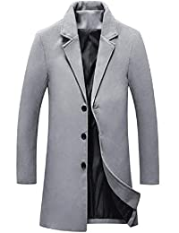 Zimase Mens Premium Wollen Notched Lapel Fall Winter Duster Coat