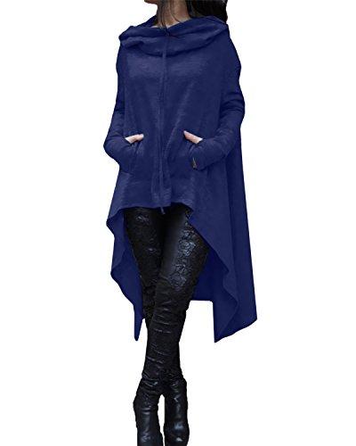 Vestito Asimmetrico Maglia Con Tasca Lunga Manica Casual Elegante Styledome Blu Cappuccio Donna 1JlKcTF