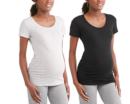 RUMOR HAS IT Maternity Ruched Sides Scoop Neck Short Sleeve T-Shirt Top (Available in Plus Sizes) (Small, Black-Heather Grey (2 Pack))