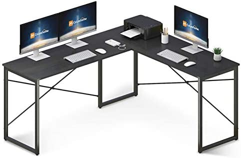 "Coleshome L Shaped Desk 58"" Home Office Desk Computer Desk Corner Gaming Table Office Writing Workstation Space-Saving Easy to Assemble, Black"