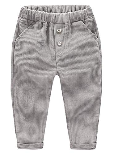 ZETA DIKES Corduroy Pants for Children Boys Elastic Waist Cotton Pants Casual Fit Pants Gray