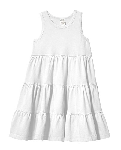 City Threads Little Girls' Super Soft Cotton Tank Tiered Dress For School Park Play and Party, White, - Park Kids City