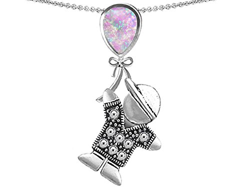 Star K Boy Holding a Balloon Mother Birthstone Pear Shape Simulated Pink Opal Pendant