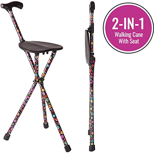 Switch Sticks Folding Walking Cane and Walking Stick with Seat, Supports up to 220 Pounds, Bubbles
