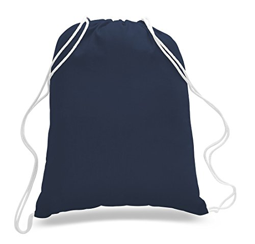 (12 Pack) 1 Dozen - Durable Cotton Drawstring Tote Bags (Navy)