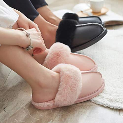 35 Accueil Coton Unisexe Gray Supérieur Chaud Chaussures PU Épaissir Intérieur Pas Sandales des SHANGXIAN Mouillé Chaussons Black 36 5U1twZxUq