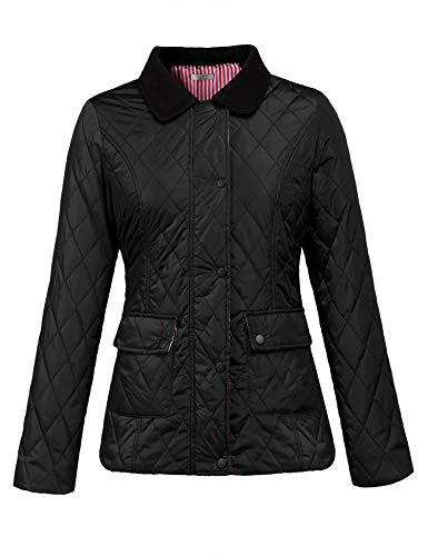 SoTeer Women Quilted Lightweight Diamond Jacket Winter Coat Tops Black XXL