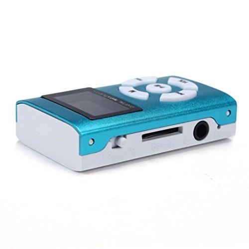 MP3 Player,Tuscom USB Mini MP3 Player LCD Screen Support 32GB Micro SD TF Card (Blue)