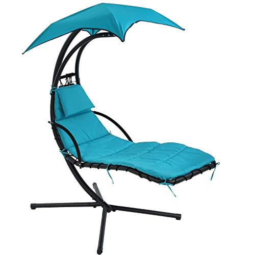BMS Patio Chair Hanging Chaise Lounger Chair Floating Chaise Canopy Swing Lounge Chair Hammock Arc Stand Air Porch Stand for Outdoor Indoor
