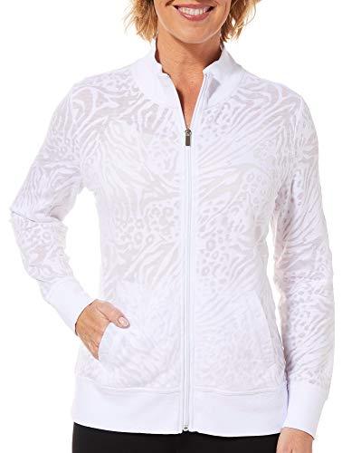 Animal Burnout - Coral Bay Energy Petite Burnout Animal Print Zip Up Jacket Large Petite White