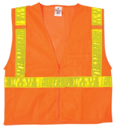 ML Kishigo 1077 Ultra-Cool Polyester Mesh Reflexite Vest, Large, Orange