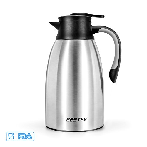 Thermal Carafe No Warmer (68 Oz Thermal Carafe by BESTEK, Stainless Steel Double Walled Vacuum Insulated Thermos for Coffee Tea or Hot Water - Heat Cold Retention-Christmas Gift)