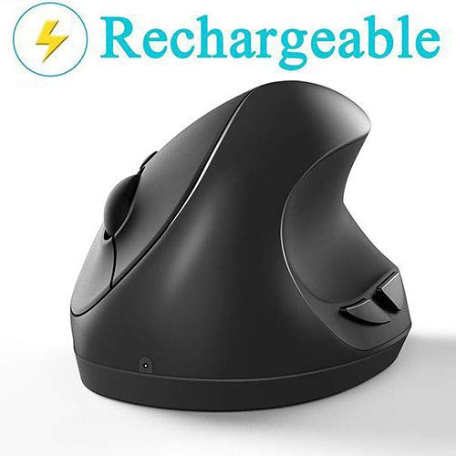 Ergonomic Mouse, Small Vertical Wireless Mouse - Lekvey Rechargeable 2.4GHz Optical Vertical Mice : 3 DPI Levels 6 Buttons, for Laptop, PC, Computer, Desktop, Notebook etc, 【for Small Hands】- Black