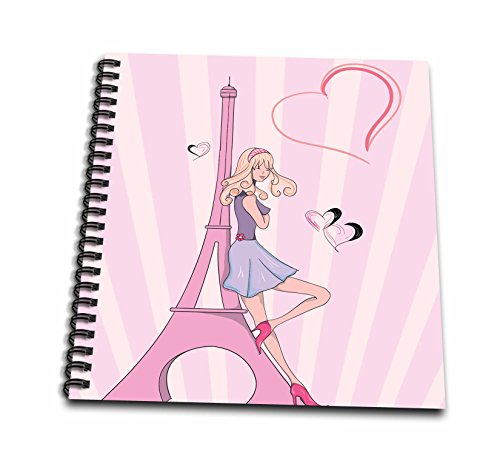 3dRose db_106888_1 Girly Pink Girl Eiffel Tower and Hearts Paris Love Vector IllustrationDrawing Book 8 by 8Inch
