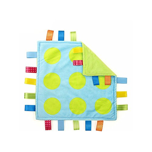 J&C Family Owned Lime Green Polka Dots Taggie Style Super Soft Lovey Baby -