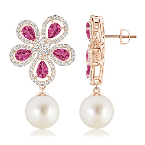 (South Sea Cultured Pearl & Pink Sapphire Floral Earrings in 14K Rose Gold (10mm South Sea Cultured Pearl))