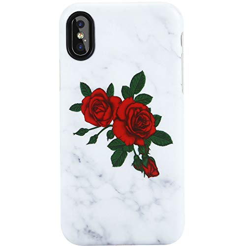 VIVIBIN iPhone X Case,iPhone Xs Case,Cute Red Roses Grey Marble for Girls Women Clear Bumper Soft Silicone Rubber Matte TPU Cover Slim Fit Best Protective Thin Phone Case for iPhone X XS 5.8 inch-158