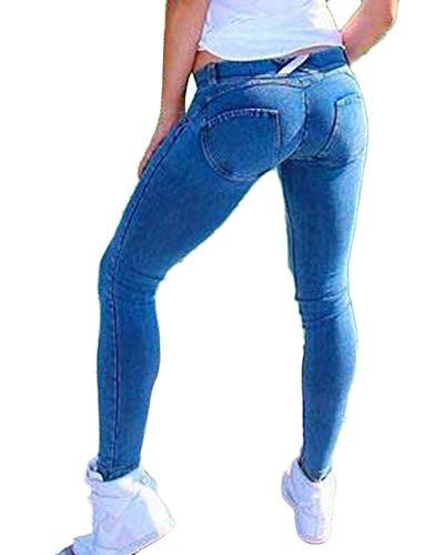 GladiolusA Jean Femme Slim Skinny - Pantalon Stretch Denim Jeggings Taille Hautes Crayon Jeans Bleu Clair