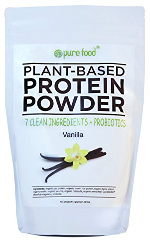 Foods Rice Protein (Pure Food: The Healthiest Organic Plant Based Protein Powder with Probiotics | Clean, All Natural, Vegan, Vegetarian, Whole Superfood Nutritional Supplement | Vanilla Bean, 512 Gram Pouch)