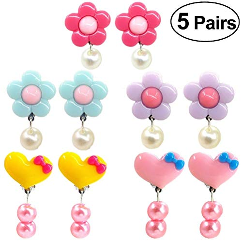 (5 Pairs Hearts Girls Accessories Cute Drop Earrings Jewelry for Not Pierced Ears)