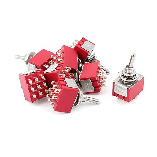 AC 250V/2A 125V/5A 3PDT ON-ON 2 Positions 9 Pins Toggle Switch 8 Pcs