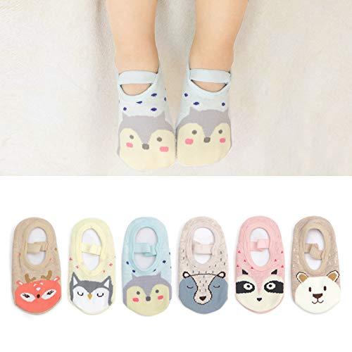 Z-Chen 6er Pack Baby Kleinkinder Sneaker Socken Sommer ABS Antirutsch Tier Motive 1-3 Jahre