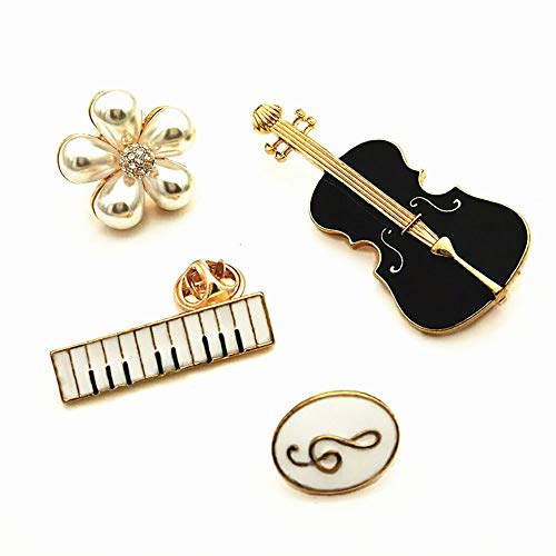 CAROMAY 4 PC Music Lapel Pins Set Enamel Pins Cute Guitar Piano Note Flower Brooches for Men Women Boys Girls Bags