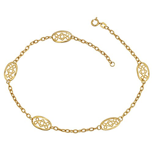 Kooljewelry 14k Yellow Gold 7.6 mm Filigree Station Anklet (10 inch)