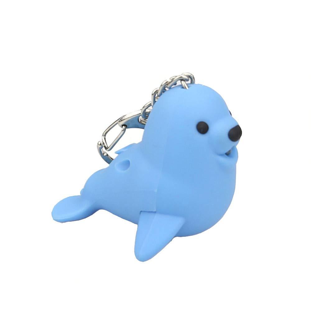 Kasien LED Key Chain, New Fashion Cute Lovely Cartoon Seal LED White Light Flashlight Keychain Keyring with Sound (Blue)