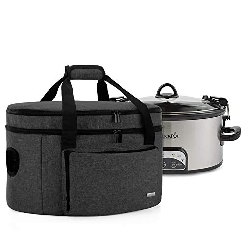 Luxja Double Layers Slow Cooker Bag (with a Bottom Pad and Lid Fasten Straps), Insulated Slow Cooker Carrier Fits for…