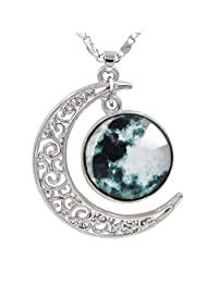 "Womens Marvelous Necklaces, Sun Pendant, Cosmic Crescent Moon Necklace, Universe Space Jewelry, 18"" + 2"" Chain"