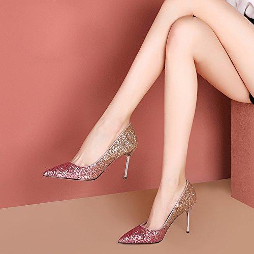 ZXCB Mesdames Printemps Stilettos Occasionnels Talons Hauts Chaussures Brillantes Boîte de Nuit de Mariage Silver7.5cm zIi5K