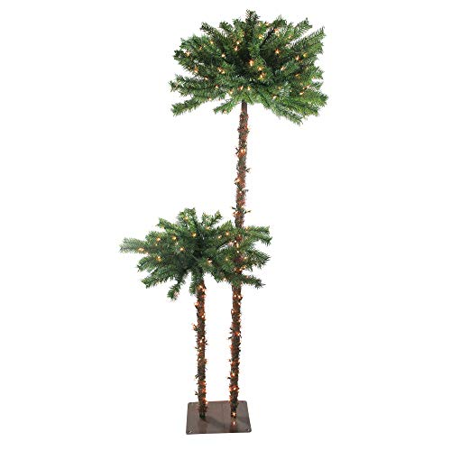 - Northlight Pre-Lit Tropical Palm Artificial Christmas Tree with Clear Lights, 6'