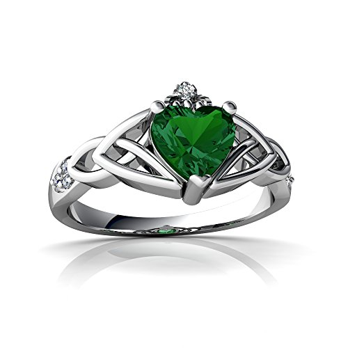 14kt White Gold Lab Emerald and Diamond 6mm Heart Claddagh Trinity Knot Ring - Size 7.5