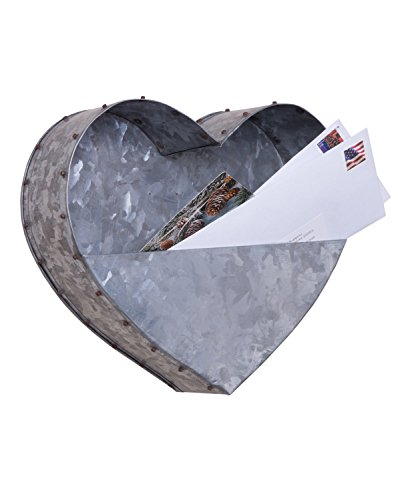 Heart Shaped Casual Country Galvanized Metal Hanging Wall Pocket Planter, 11-inch -