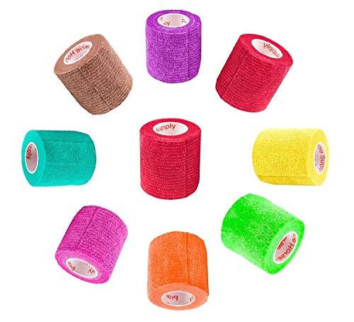 2 Inch Vet Wrap Tape Bulk (Assorted Colors) (Pack of 18) Self Adhesive Adherent Adhering Flex Bandage Rap Grip Roll for Dog Cat Pet Horse