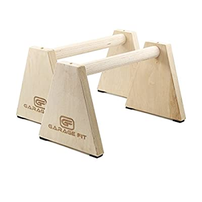 "Wood Parallette Set, Push Up Bars, Push Up Stand, Handstand Bars, Wooden Parallettes - Garage Fit - 10""x17.5"""