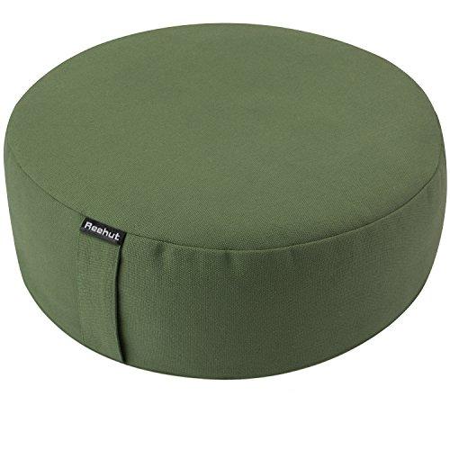 Hemp Style Organic (REEHUT Zafu Yoga Meditation Bolster Pillow Cushion Round Cotton or Hemp - Organic Buckwheat Filled - (Green, 16