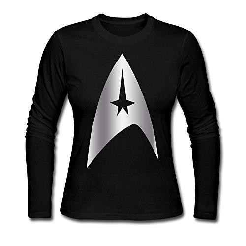 Women's Star Trek Platinum Logo Long Sleeves Tshirts Black