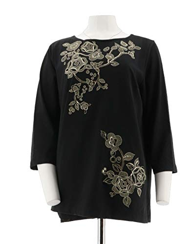 Bob Mackie Floral Sequin Embroidered Knit Top Black S New A293810 Bob Mackie Embroidered Blouse