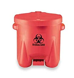 Eagle 945BIO Biohazardous Waste Polyethylene Safety Can with Foot Lever, 10 Gallon Capacity, Red