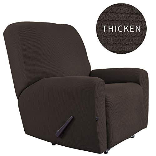 Easy-Going Thickened Recliner Stretch Slipcover, Sofa Cover, Furniture Protector with Elastic Bottom, 4 Pieces Couch Shield, Sturdy Fabric Slipcover, Pets,Kids,Children,Dog,Cat (Recliner,Chocolate)