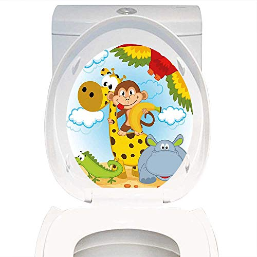 - Qianhe-Home Toilet Seat Decal Kids African Animals Safari Theme Cartoon Illustration Monkey Parrot Giraffe Hippo Lizard Multicolor. Decal Sticker for Toilet Decoration W12 x L14