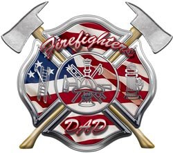 American Flag Maltese Cross Firefighters Dad Decal - 4